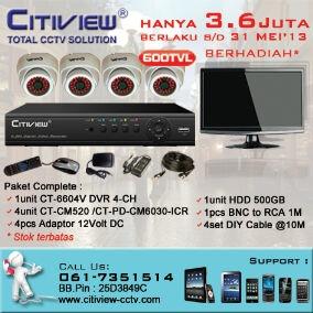 Hanya dengan 3.6 Juta , Anda dapat langsung membawa pulang paket complete CCTV Citiview dan sebuah LCD TV. Contact. 061 - 735 1514