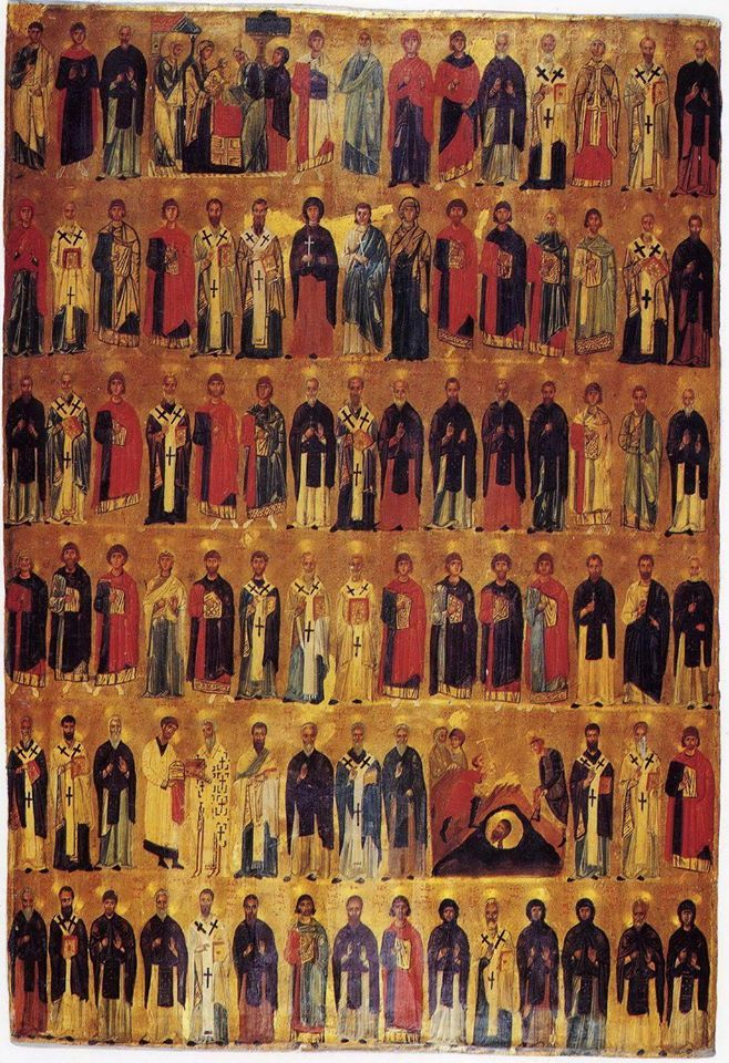 "A blessed, creative and happy month to each of you ! The February Menaion Icon The word Menaion (Gr: Μηναίον) comes from the Greek word meaning ""of the month"". It is used to describe a way of grouping together liturgical texts, prayers and stories based on the order of Saints' days and other feast days in the Church calendar. A Menaion Icon is similar in that it is a pictorial grouping together of Saints and feasts, usually in rows, according to their order in the Church calendar."