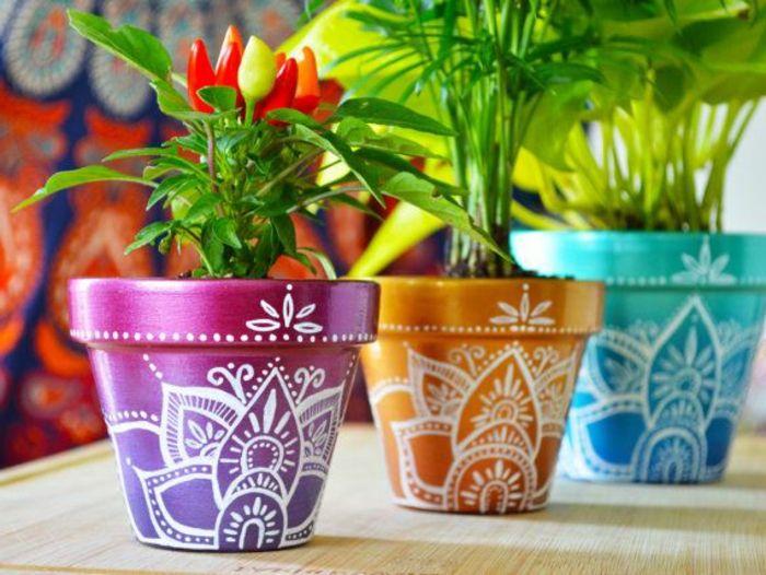 blumentopf keramik mandalla schöne blumentopf design ideen in blau grün lila orange rot und weiße streichen