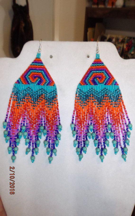 Grand Style amérindien perlé Kaléidoscope arc en ciel tourbillon boucles d'oreilles en Turquoise du Sud-Ouest, brique du point géométrique Gypsy, Peyote