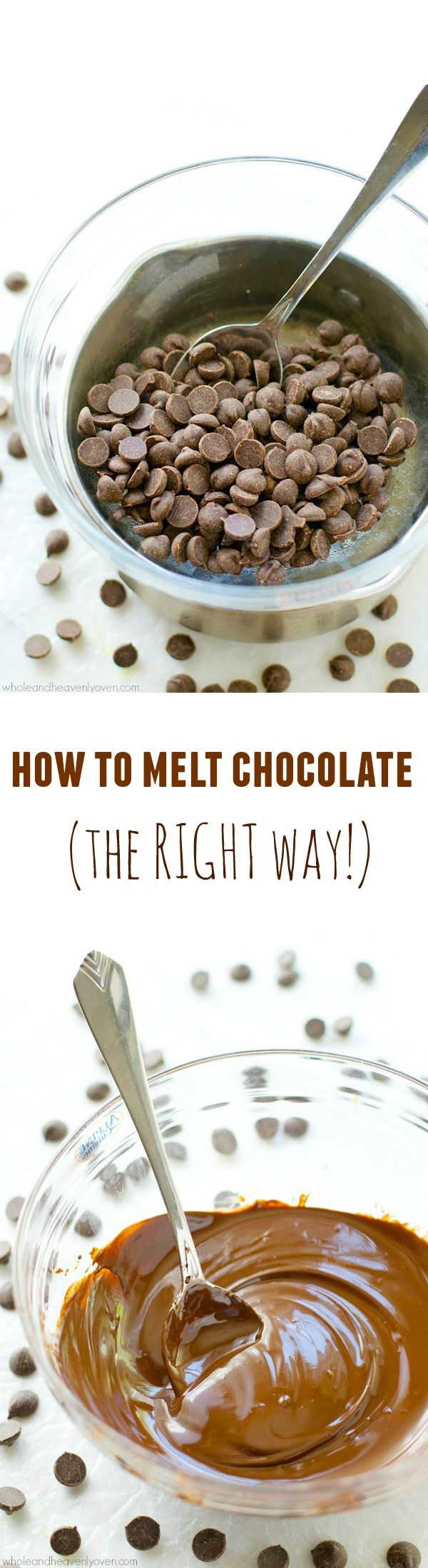 Learn how to melt chocolate perfectly every time with this easy tutorial. All you'll need is a saucepan, a bowl and all the chocolate you desire!@WholeHeavenly