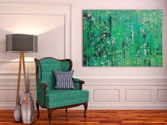 Green Illusions, Green Modern Abstract Canvas Wall Art Print, Abstract Wall Art Decor up to 72 by Irena Orlov   Large Wall Art for Home or Office decor.  ☼ Medium: Giclée canvas print of original painting by Irena Orlov.  ☼ Finish: High quality 1.5 deep gallery wrapped canvas print. No need for a frame - just hang it and love it.  SPECIFICATIONS: - Giclee Print on artist-grade canvas - 1.5 deep wooden support bars (for hanging without a frame) - Gallery stretching & wrap (image covering e...