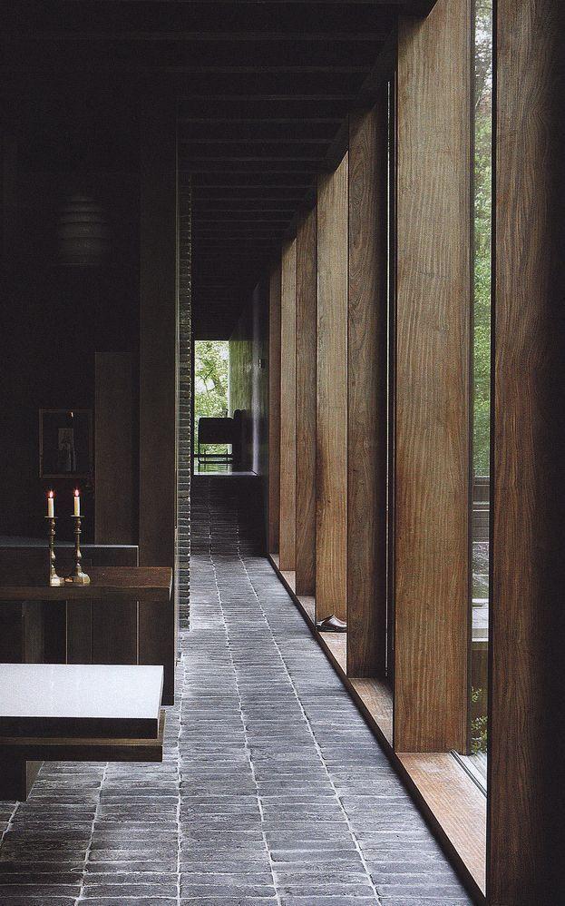 Modernist design using natural materials.