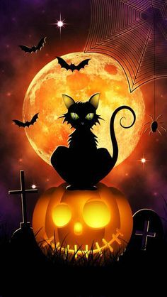 Great Halloween   Under The Moon, With Bat, Cat, Spider U0027n Web, Tomb Stone And  Pumpkin So U0027Grinu0027 Some!
