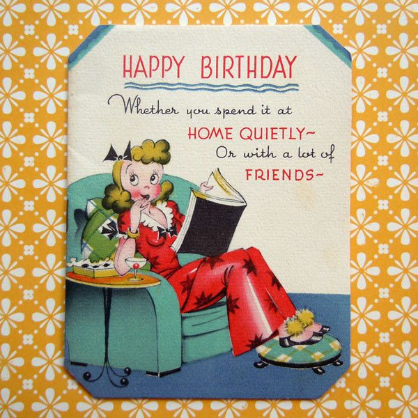 Vintage Wife in Pajamas and House Slippers with Martini Birthday Greeting Card