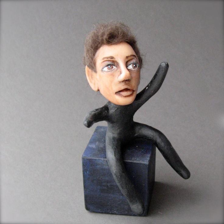 OOAK Handmade Artwork Sculpture - Little Wild Man Figurine - Big Brown Eyes. $40.00, via Etsy.: Etsy, Promotions, Man Figurines, 40 00, Wild Man, Ooak Handmade, Handmade Artworks, Artworks Sculpture, 4000