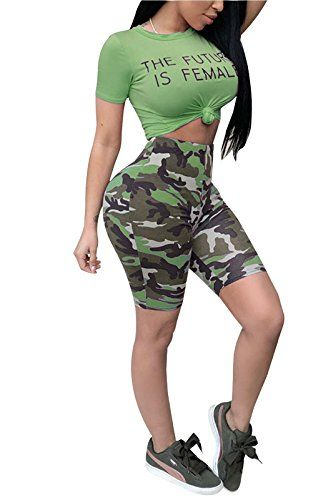 219e387342b MarcoJudy Womens Letters Short Sleeve Crop Tops Camo Pants Bodycon 2 Piece  Outfits Set Jumpsuits
