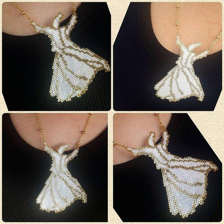 """104 Beğenme, 9 Yorum - Instagram'da Nesibe Erdoğan (@miyuki_takisandigi): """"Harf'ler yetmedi anlaşılmama, bari hâl'den anla... #semazen #kolye #jewellery #handmadejewelry…"""""""