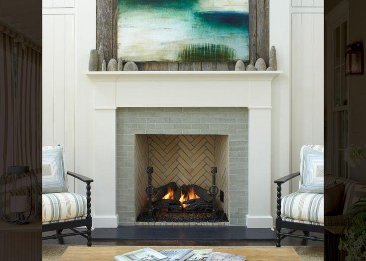 The Bold Look of  Ceramic Brick  Bizn  Fireplace tile surround Tile around fireplace