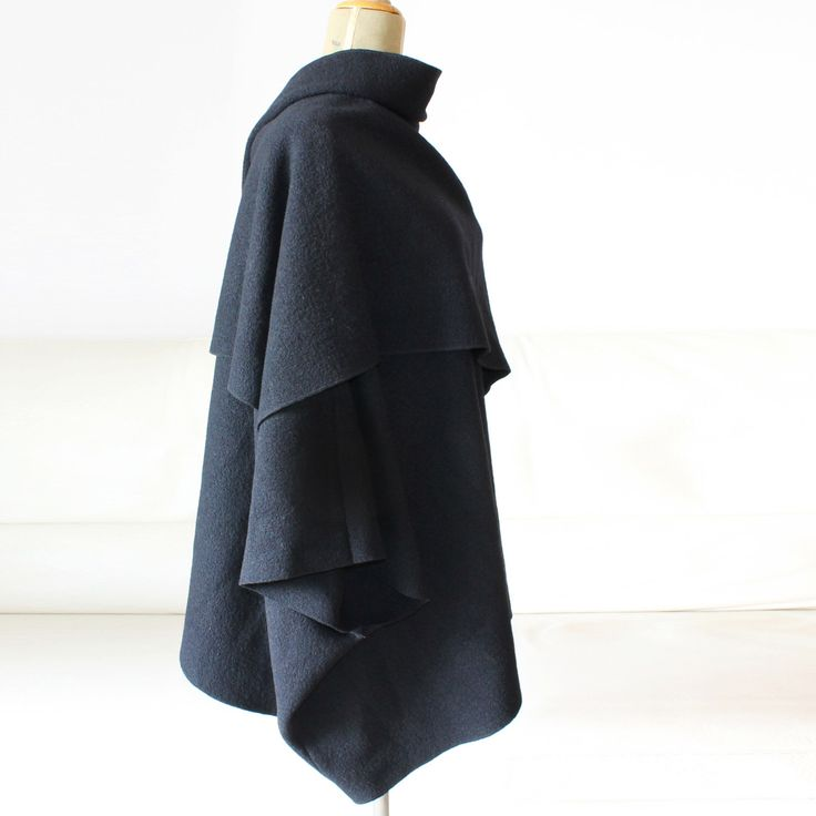 wool cape, wrapped poncho, black elegant cardigan, woman wool coat by Afycollection on Etsy https://www.etsy.com/listing/247322118/wool-cape-wrapped-poncho-black-elegant