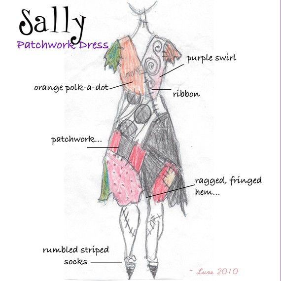 Sally  Nightmare Before Christmas Costume for Halloween by liluxe, $149.99    I do not like the price but I like that this sketch shows what each patch is.  :)