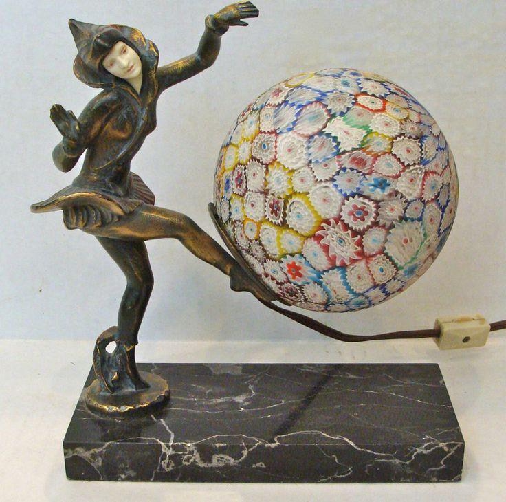 1930s Art Deco Gerdago Pixie Dancer Lamp Millefiori Murano