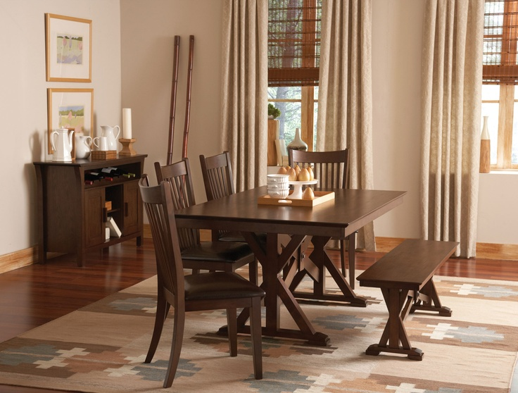 Rivera Dining Collection :: Country style table featuring X-style double pedestals with matching bench and side chairs.