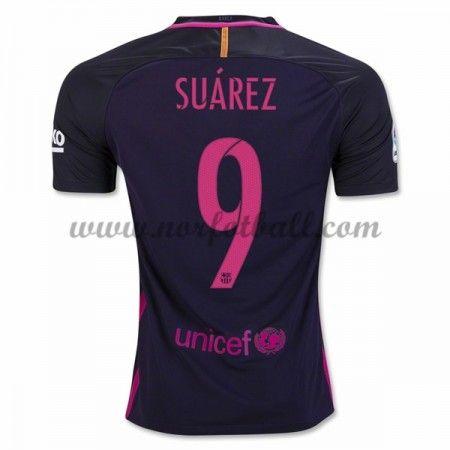 Billige Fotballdrakter Barcelona 2016-17 Suarez 9 Borte Draktsett Kortermet