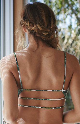 Ladder Back Floral Bralette Bikini Top. Pacsun. Green strappy top.