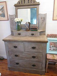 French Inspired Vintage Drawer with Mirror