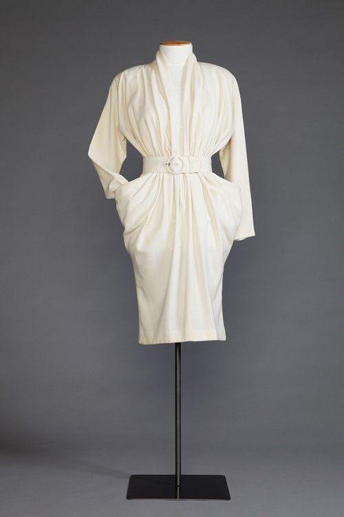 1980s wool crepe day dress