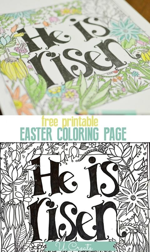 His Is Risen Easter Coloring Page Printable