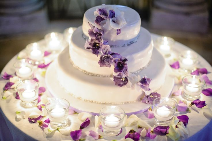 Beautiful and delicious! Jill and Luca's wedding at an exclusive venue with gardens and view in Rome. Purple was their theme color. Photos by Rochelle Cheever. www.weddingsinrom...