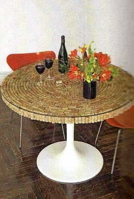 #corks under glass as table