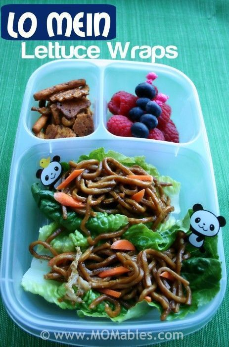 Lo Mein Lettuce Wraps for Lunch | packed in @EasyLunchboxes containers #lunchrevolution