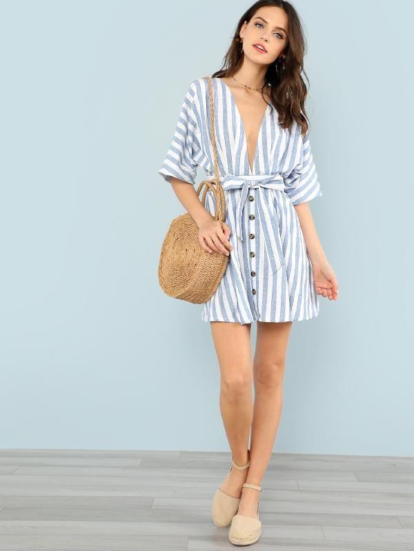 b853a5019f0c Deep V Neck Button Front Striped Dress -SheIn(Sheinside) | Vacation ...
