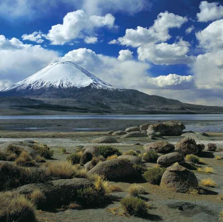 """Chungara Lake and Parinacota Volcano"". Northern tip of Chile."