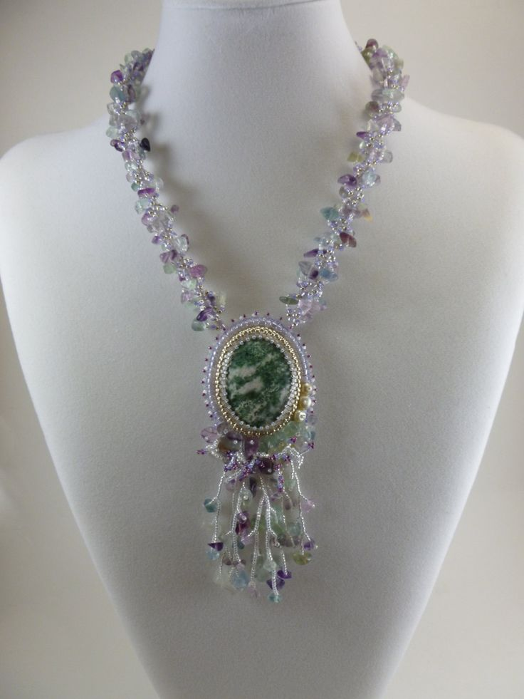 Handcrafted bead embroidered necklace tree agate and
