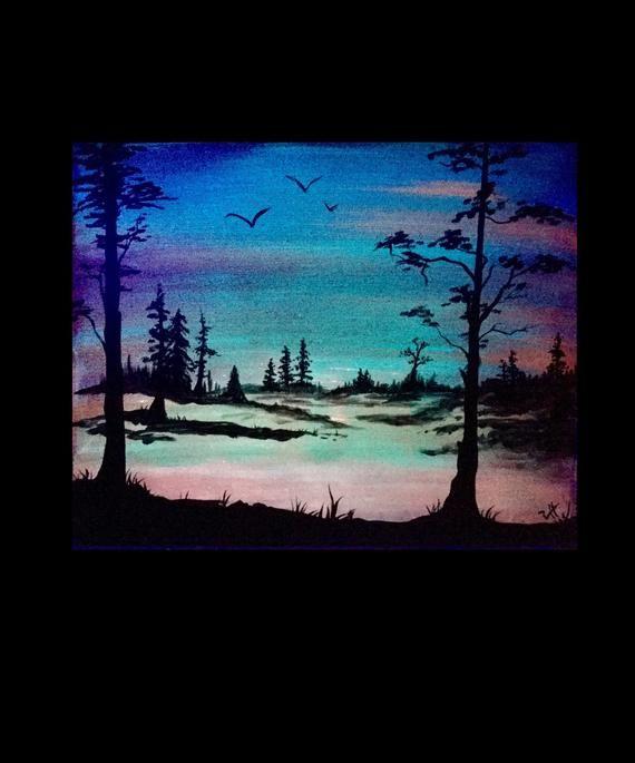 Glow In The Dark Art Forest Original Painting 2 Woods Etsy Landscape Paintings Landscape Art Minimalist Landscape