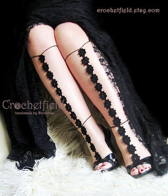 Sexy crochet barefoot sandals knee high gladiator by Crochetfield