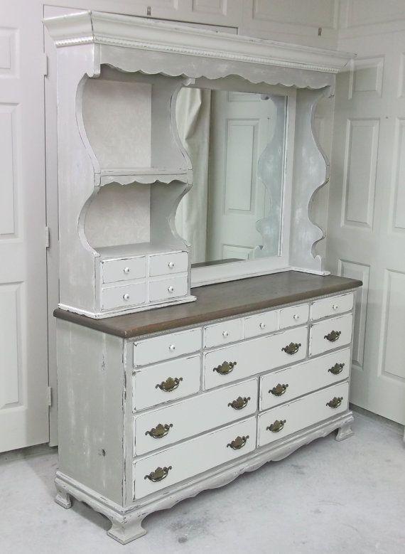 Shabby White Khaki Grey Double Dresser With Mirror Hutch