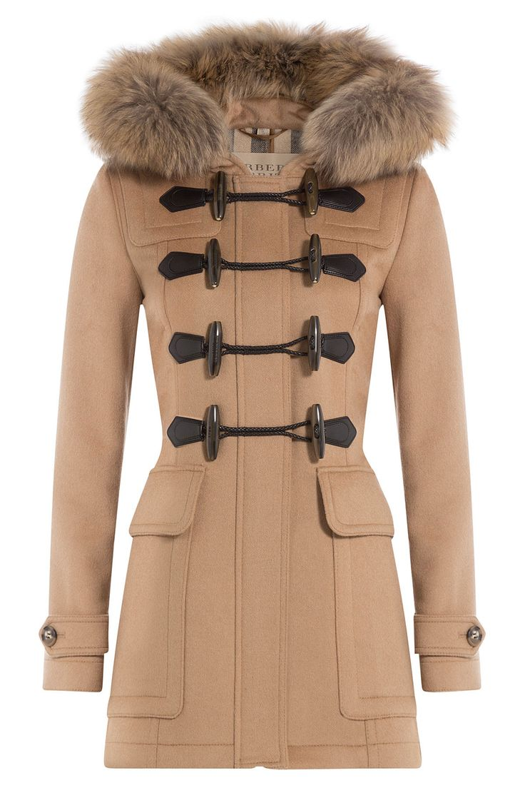 Burberry Brit Blackwell Wool Duffle Coat with Fur Gr. UK 8