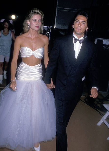 Actress Nicollette Sheridan and actor Scott Baio attend Beverly Hills' 75th Birthday Celebration on July 3 1988 at Beverly Hills High School in...