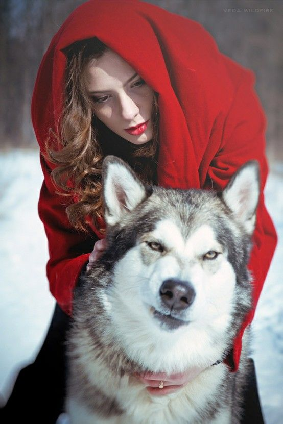 Red riding hood. I could totally pull this off for Halloween for one of the girls. I'm not sure what Sassy's reaction would be, though.