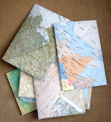 map envelopes! always good to encourage the youngsters into thinking of new ways to recycle materials