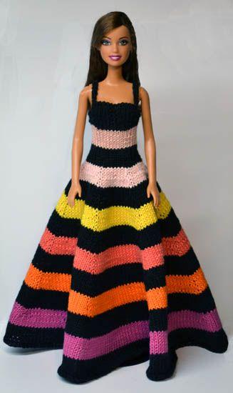 Modèle de robe de barbie au tricot