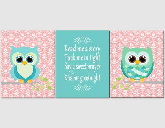 Printable Nursery Art, Kids Wall Art, Girls Nursery, Owls, Quote, Read Me A Story, Coral, Aqua, Teal, Girls Room Art, Damask, Set of 3