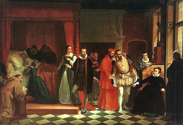 """La mort de François II- François II meurt sans descendance, son frère cadet Charles, âgé de 10 ans, lui succède. Le 21 septembre, le Conseil privé nomme Catherine de Médicis """"gouvernante de France"""". Les Guise se retirent de la cour. Marie Stuart, veuve de François II, retourne en Ecosse. Louis de Condé, qui attendait son exécution dans sa cellule, est libéré après négociations avec Catherine de Medicis."""