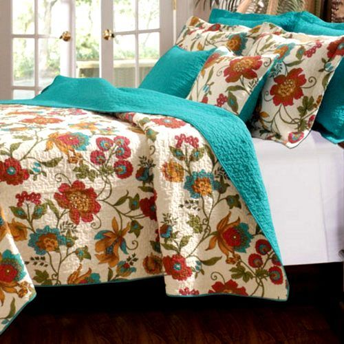 Scroll Floral Turquoise Blue Girls Bedding Twin Full/Queen King Quilt Set Teal Red Ivory Cotton #kidsroomstore
