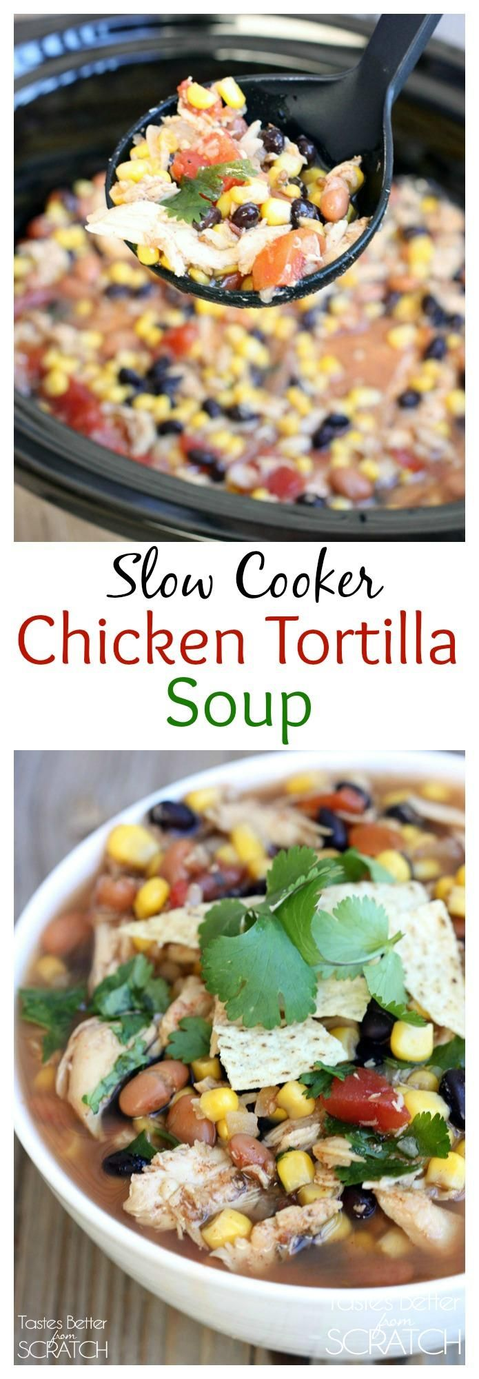 Slow Cooker Chicken Enchilada Soup on TastesBetterFromScratch.com ...