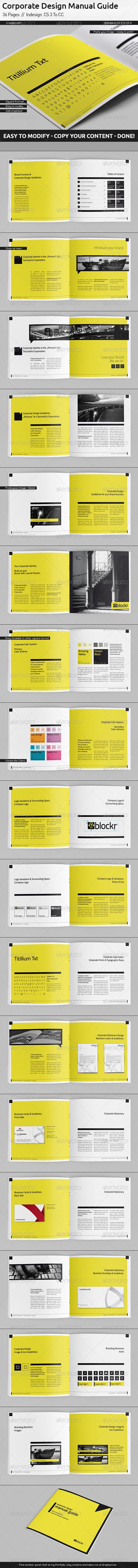 Corporate Design Manual Guide Square  // 36 Pages - Corporate Brochures