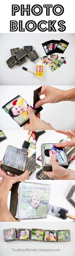 Photo blocks, creative way to display photos.  Use photos of the kids at holiday time, Halloween costumes, snow gear, red and white for valentines day, red white and blue for 4th, tinself of new years, first day of school, fall leaves, dressed in green for St Patricks.  Oh the ideas!