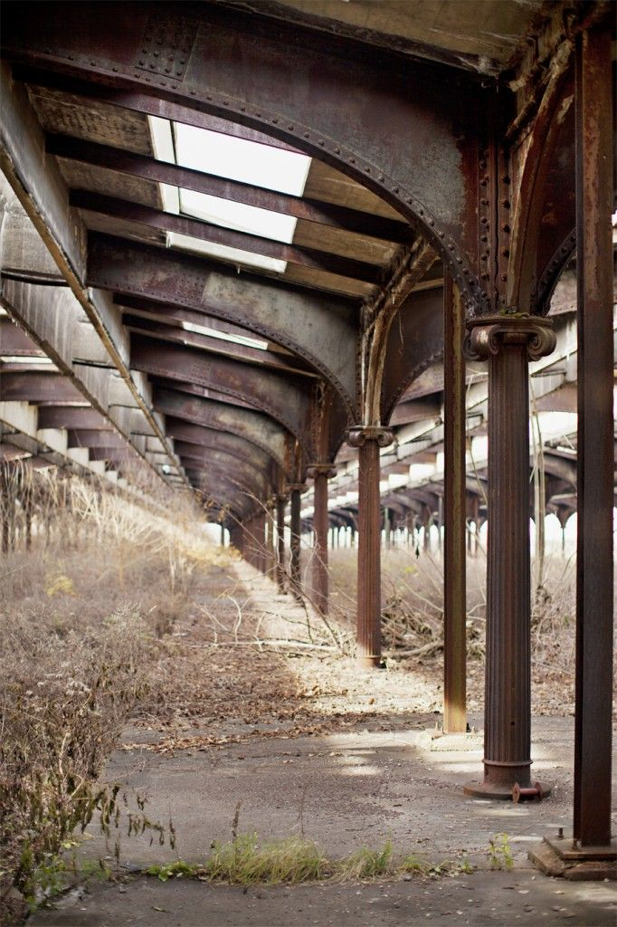 """""""The overgrown railways of Communipaw Station, which is nestled on the edge of the Hudson and overlooks Ellis Island, the Statue of Liberty and downtown Manhattan, from the Jersey side"""" Love the colours in this. S"""