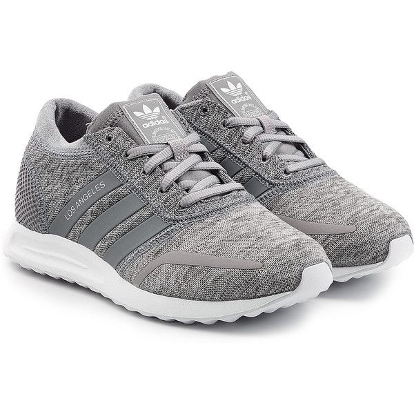 Adidas Originals Los Angeles Sneakers (£61) ❤ liked on Polyvore featuring shoes, sneakers, chaussures, grey, gray shoes, lace up shoes, adidas originals shoes, rubber sole shoes and adidas originals trainers