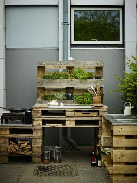 Outdoorküche aus Paletten selbst gemacht