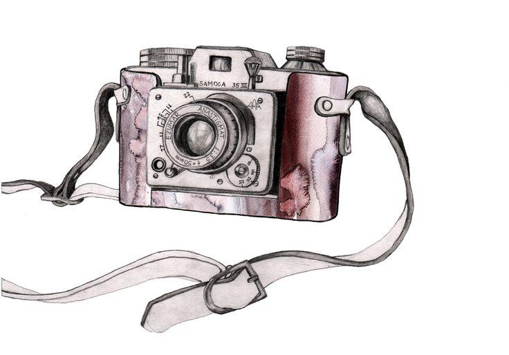 Image of 'Retro Camera' Watercolor Art Print 30 x 40 cm  #illustration #painting #watercolor #fashion #drawing #camera #retro #vintage