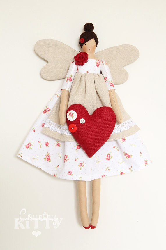 Fairy angel doll in white and red shades with little roses fabric and tweed heart with buttons