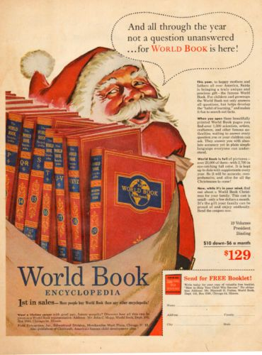 1953 vintage Christmas AD  WORLD BOOK ENCYCLOPEDIA  Art Santa Claus  082215 in Collectibles, Advertising, Merchandise & Memorabilia, Advertising-Print, 1950-59 | eBay..