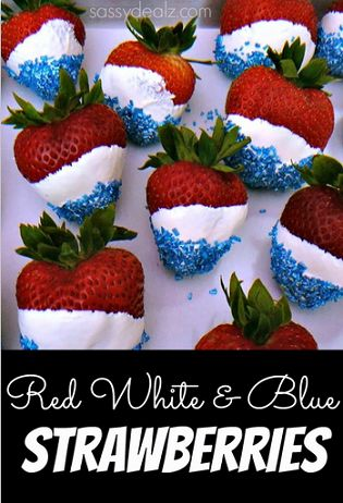 4th of July Strawberries - So easy even kids can make them! #Memorial Day