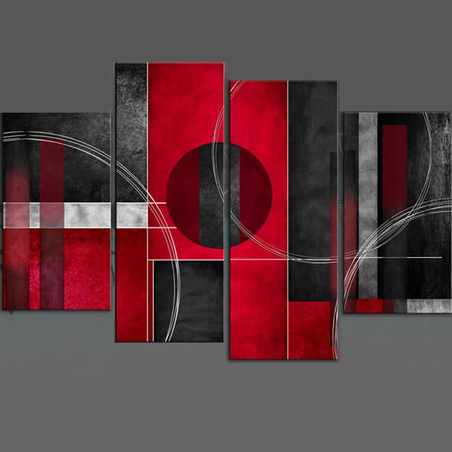 Multi Panel - Abstract Oil Painting Stretched - Rosso Nero Abstract Canvas Wall Art  In Depth 100% handmade Oil Painting Wall Decor on canvas. Model Number: JEN - 61713 Type: Handmade Style: Abstract Subjects: Abstract Medium: Oil Support Base: Canvas Weight: 1kg Delivery Date: In stock: within 14 working days; out of stock: 21 - 30 working days